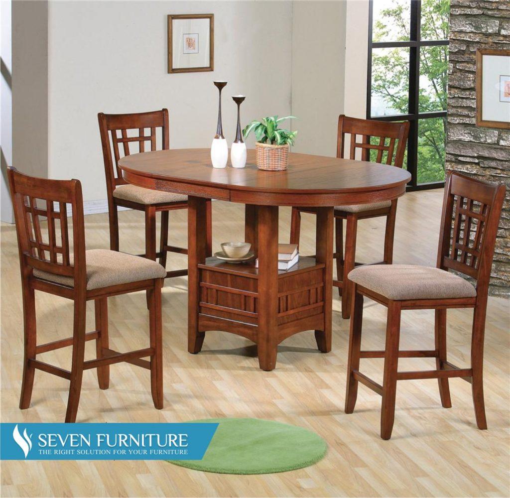 Set Meja dan Kursi Makan Natural Mahogany