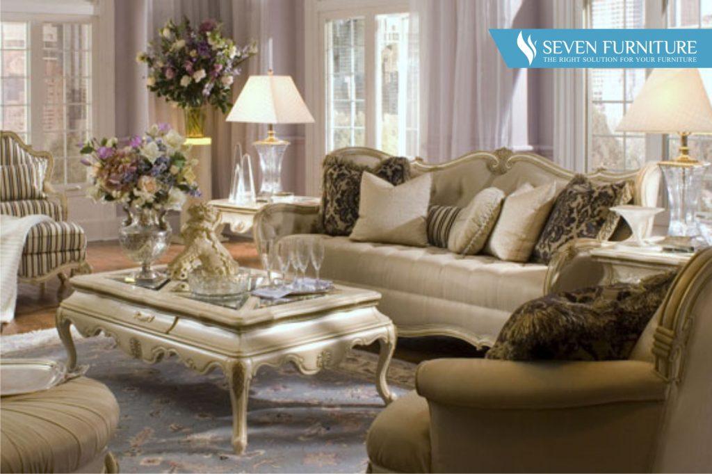 Set Meja dan Kursi Sofa Tamu Elegant White