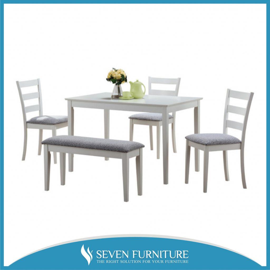 Set Meja Makan Putih Minimalis