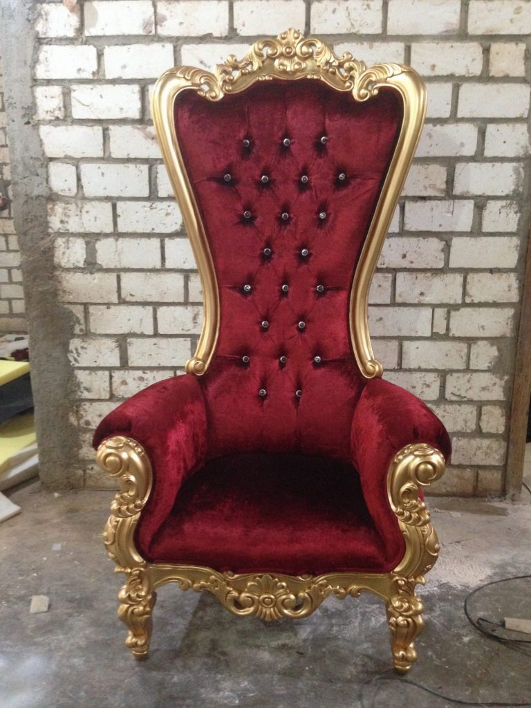 Throne Chair | Gold Frame With Red Velvet
