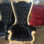 Throne Chair Black Gold