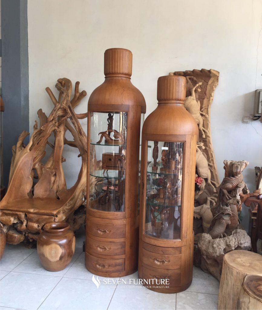 Lemari Botol Hias Jati