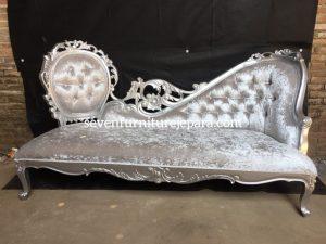 Sofa Tamu Ukiran Mawar Silver