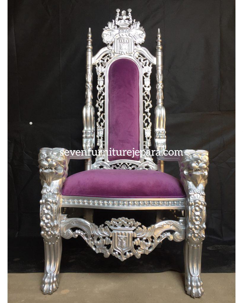 King Chair Purple SIlver   Kursi Raja Ungu Silver