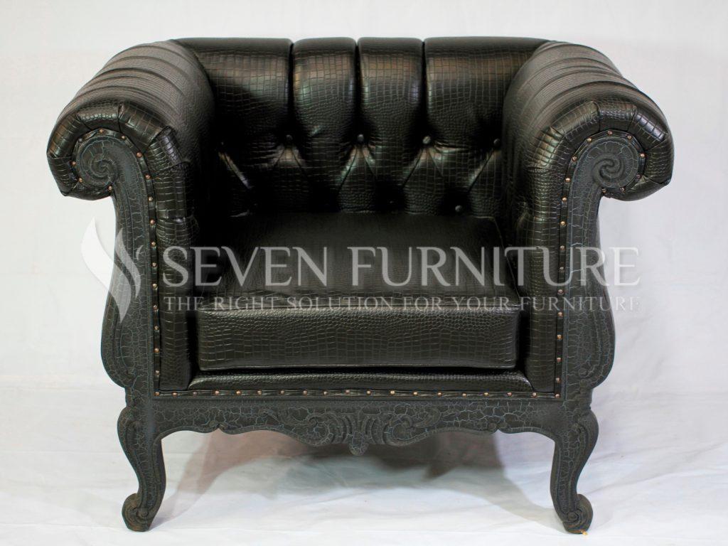 Chesterfield Sofa Black 1 Seater