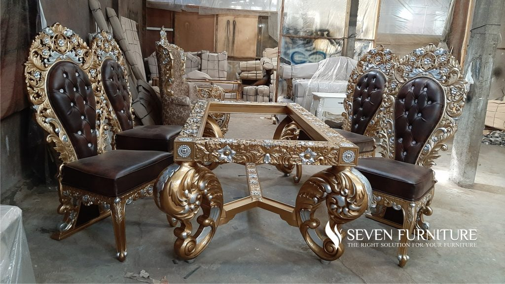 Set Kursi Makan Wayang Full Ukiran Gold Silver