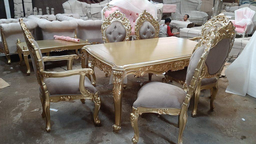 Set Meja Makan Minerva Gold