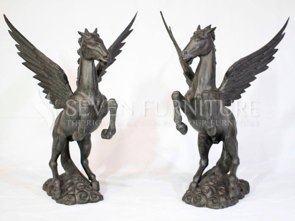 Patung Kuda Bersayap - Patung Unicorn Kayu Jati