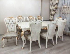 Set Kursi Makan dan Meja Makan Ukir Jepara Klasik
