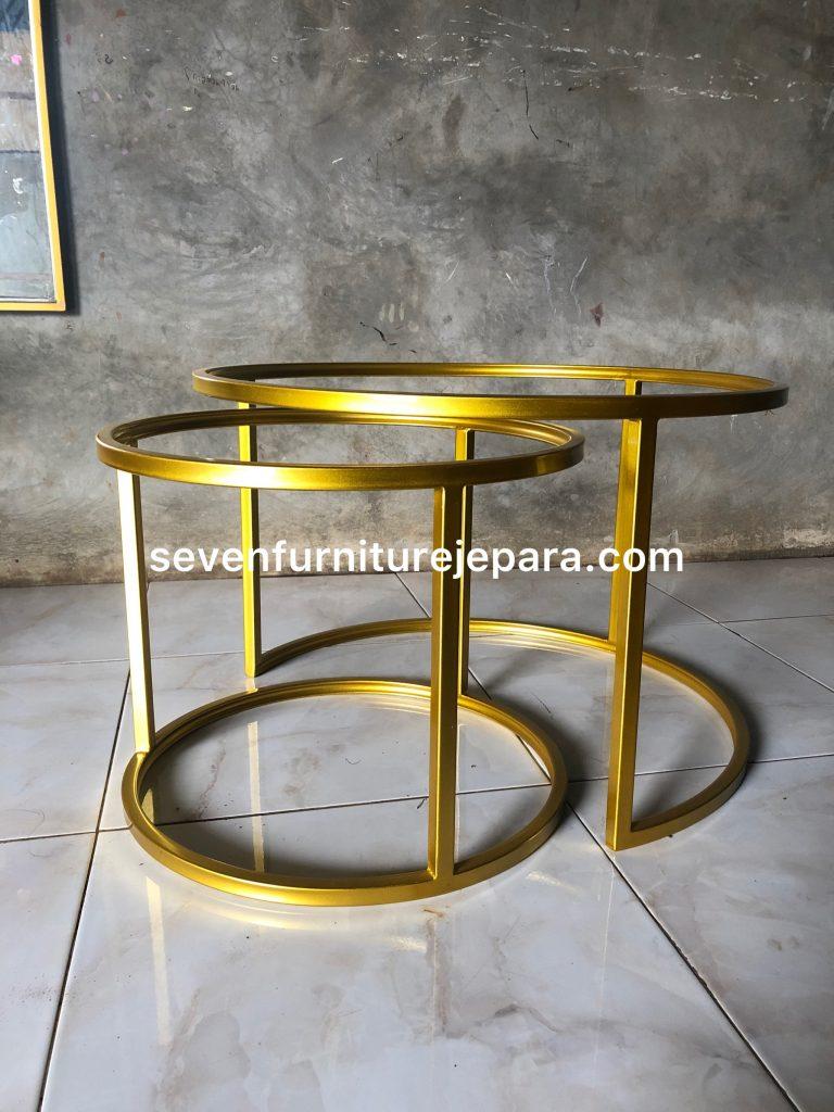 Meja Tamu Metal Gold Finishing - Minimalis Modern